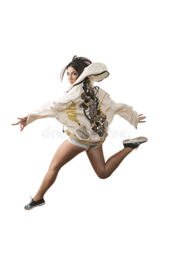 Energetic dance jump stock photography