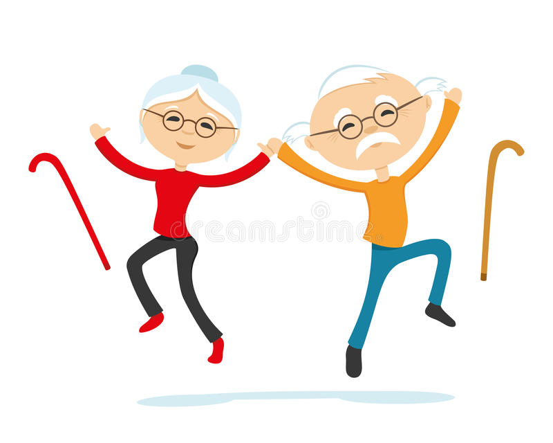 Energetic elderly couple. Holding hands in a jump royalty free illustration