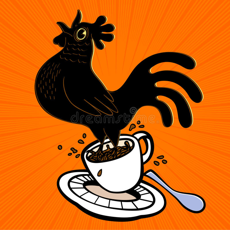 Energetic espresso cartoon rooster springing from coffee cup and singing at cockcrow, early bird vector illustration