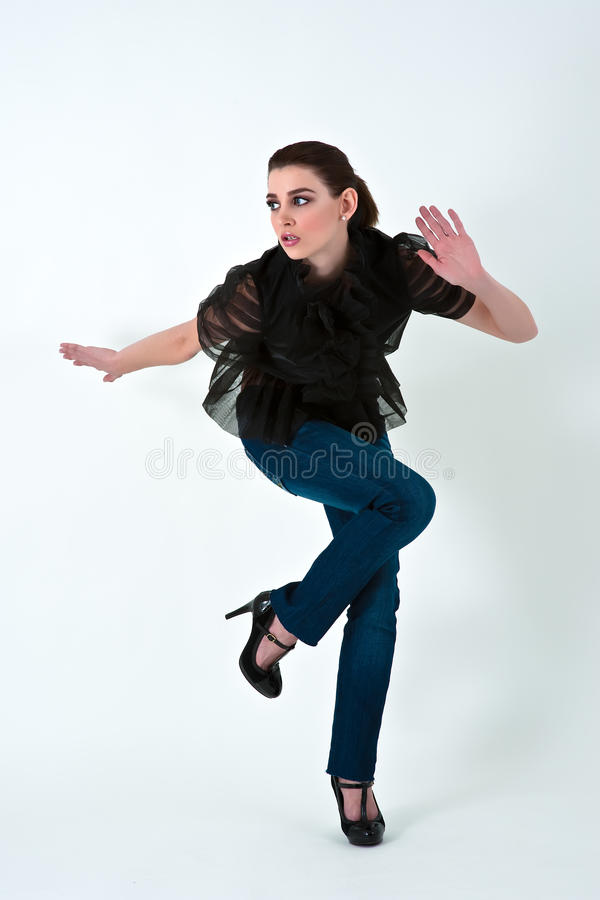 Energetic fashion model stock photography