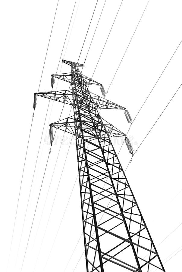 pylon tower power line isolated white stock image