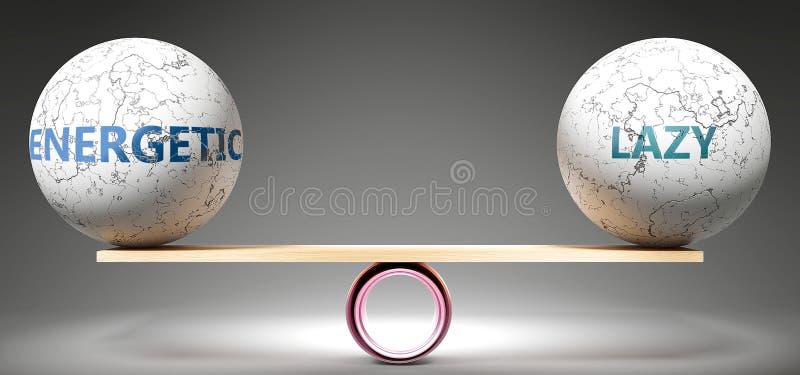 Energetico e preguiçoso em equilíbrio - retratado como bolas equilibradas em escala que simbolizam harmonia e equidade entre Ener ilustração stock
