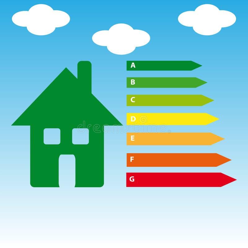 Energetyczna efficience etykietka odizolowywająca na błękitnym tle Wektorowy Illustartion ilustracja wektor