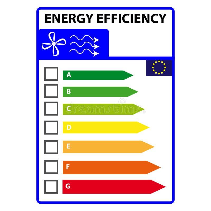 Energetyczna efficience etykietka odizolowywająca na białym tle Wektorowy Illustartion royalty ilustracja