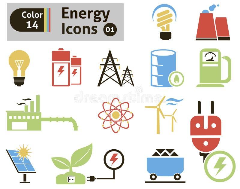Energetyczne ikony ilustracja wektor
