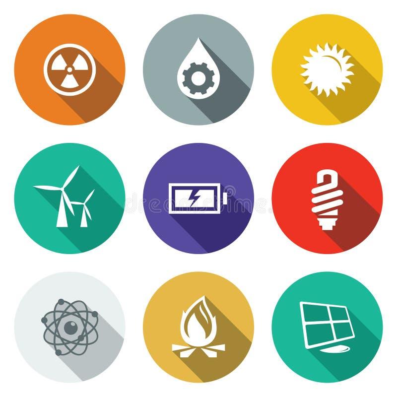 Energetyczne płaskie ikony ustawiać royalty ilustracja