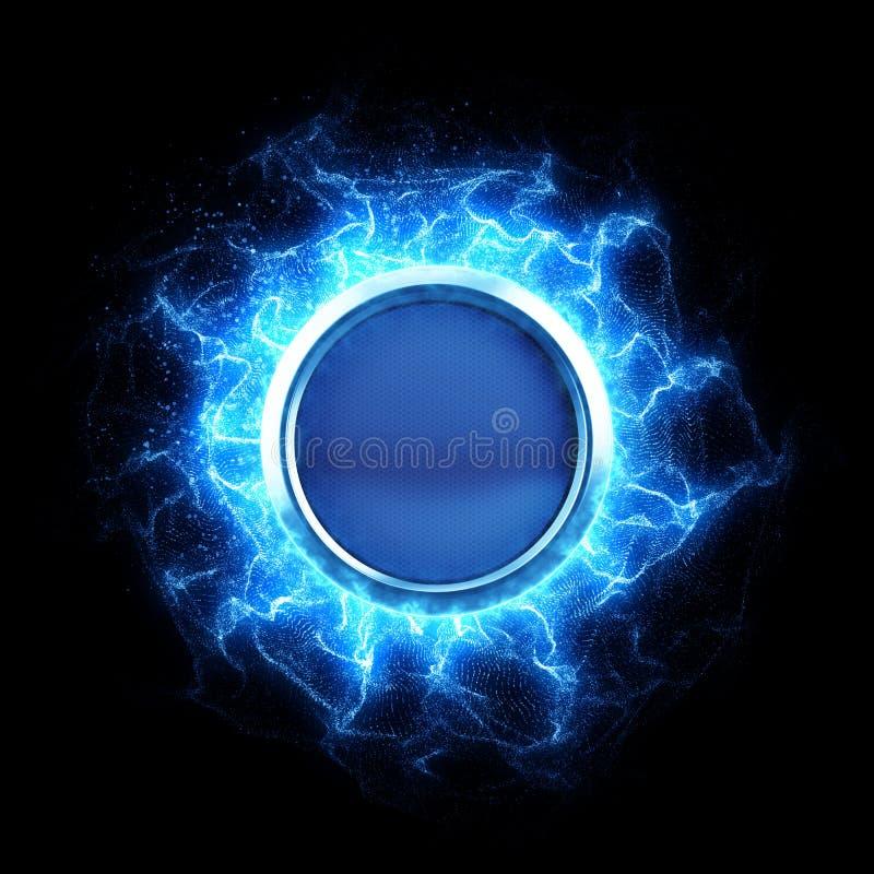 Energetyczny guzik z energią macha na czarnym tle ilustracji