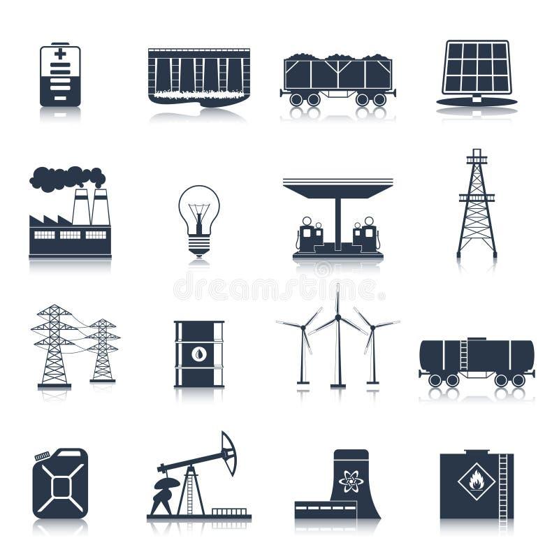 Energetyczny ikony czerni set ilustracji
