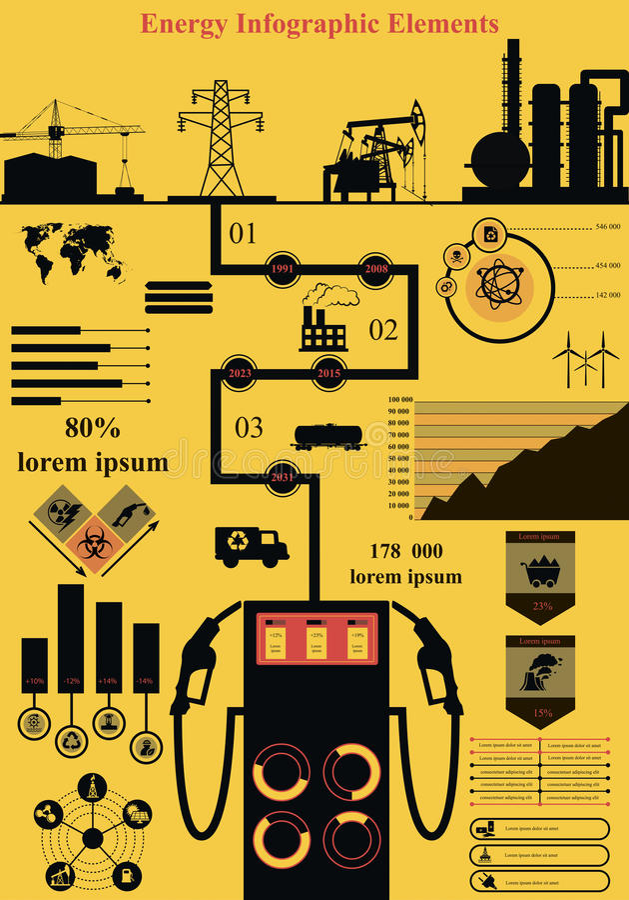 Energetyczny infographics royalty ilustracja