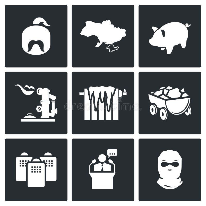 Energetyczny kryzys w Ukraina Wektorowych ikonach Ustawiać royalty ilustracja