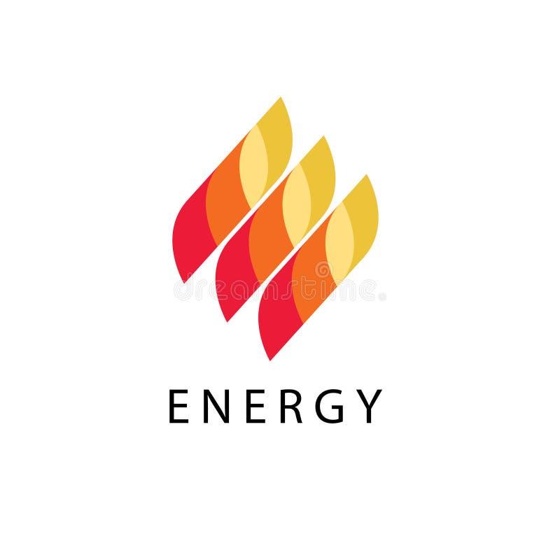 Energetyczny loga wektor, abstrakta ogienia płomienia gatunku logotyp ilustracji