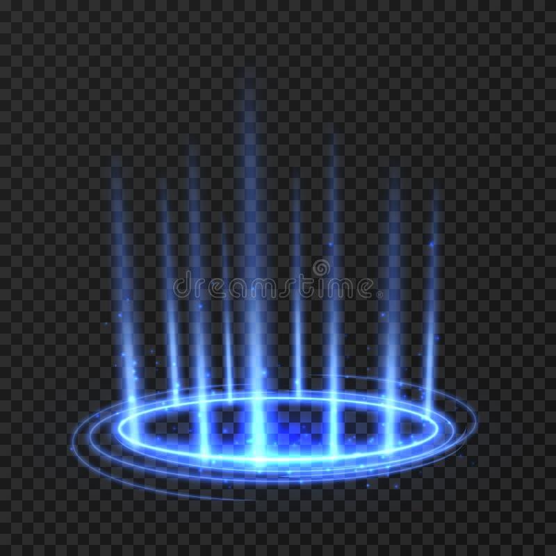 Energetyczny przędzalnictwo okrąg z błękitnymi rozjarzonymi promieniami Fantazja portal, magiczny pokręcony teleportuje na podłog ilustracja wektor