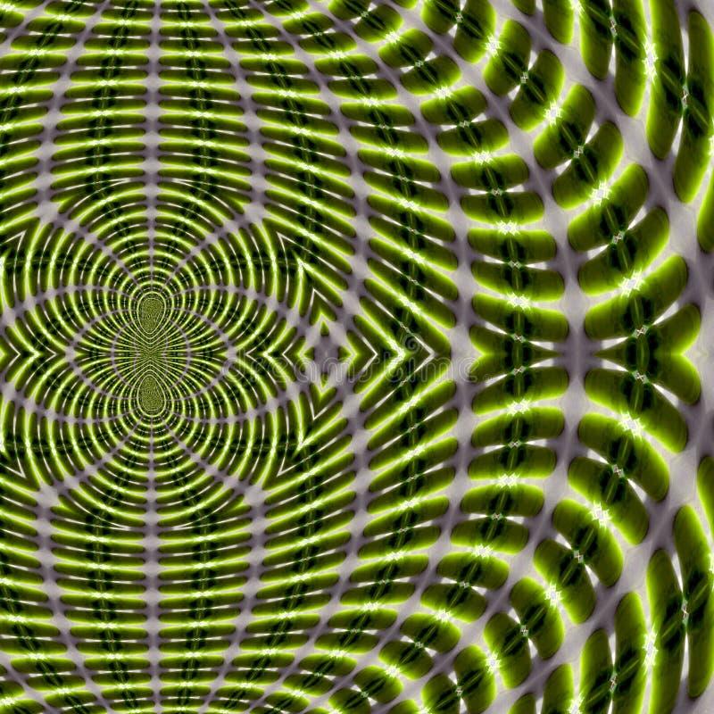 Energetyczny tło, fractal pole magnetyczne wykłada w iść zielonym kolorze, Abstrakcjonistyczny Naukowy wzór ilustracji