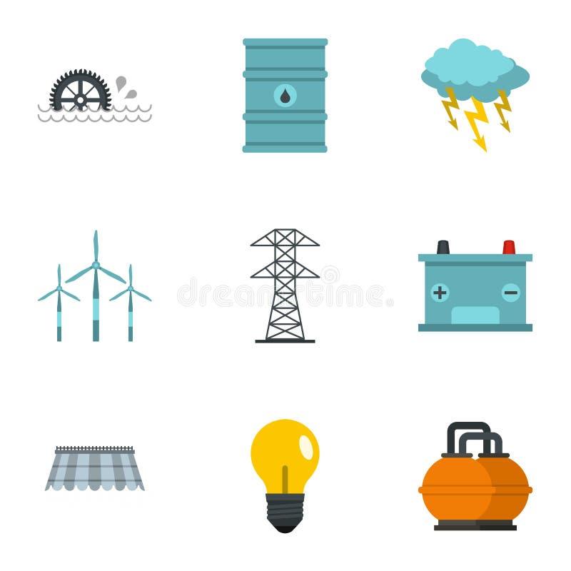 Energetycznych źródeł ikony set, mieszkanie styl ilustracji