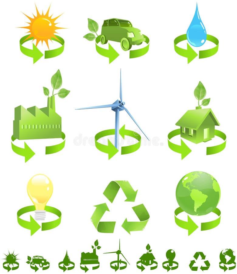 energi återanvänder vektor illustrationer