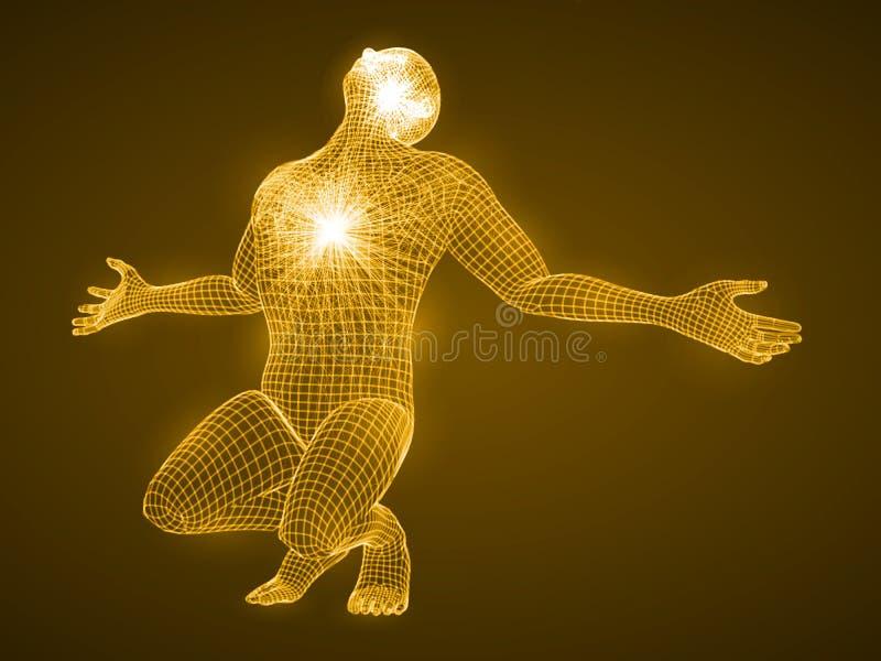 Energi av den be mannen royaltyfri illustrationer