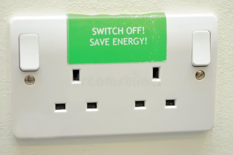 energi av den save strömbrytaren royaltyfria foton