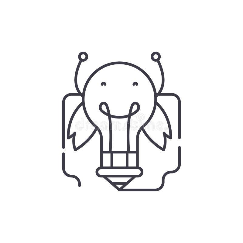 Energi av nya idéer fodrar symbolsbegrepp Energi av den linjära illustrationen för ny idévektor, symbol, tecken vektor illustrationer