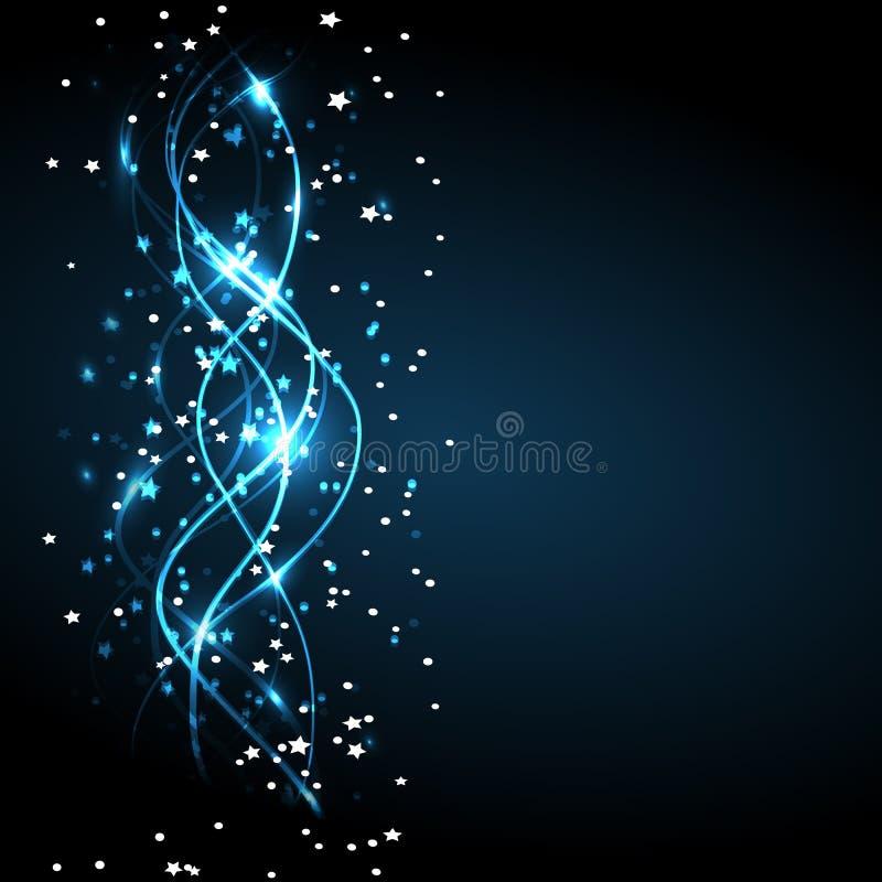 Energi av rörelse och skönhet Magisk bakgrund Abstrakt illustration i ljusa färger Bakgrund med brusandevågor stock illustrationer