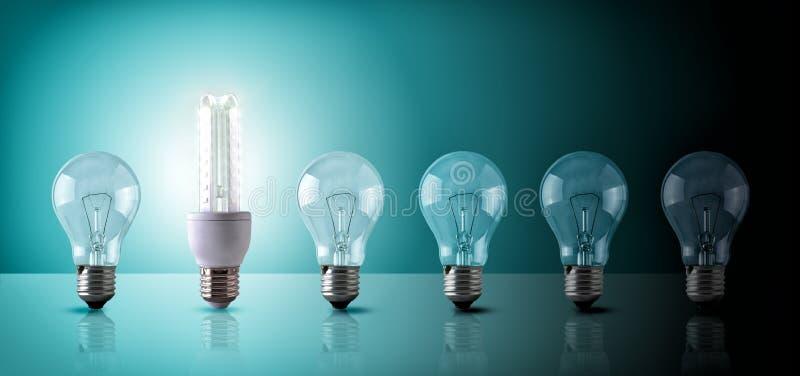 Energi - besparingbegrepp med följd för ljusa kulor på blått-gräsplan lodisar vektor illustrationer
