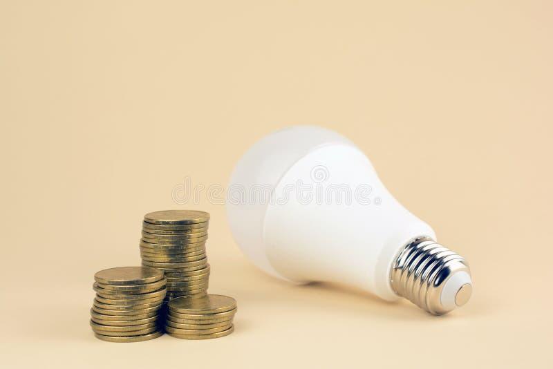 Energi - besparinglampa och mynt royaltyfri bild