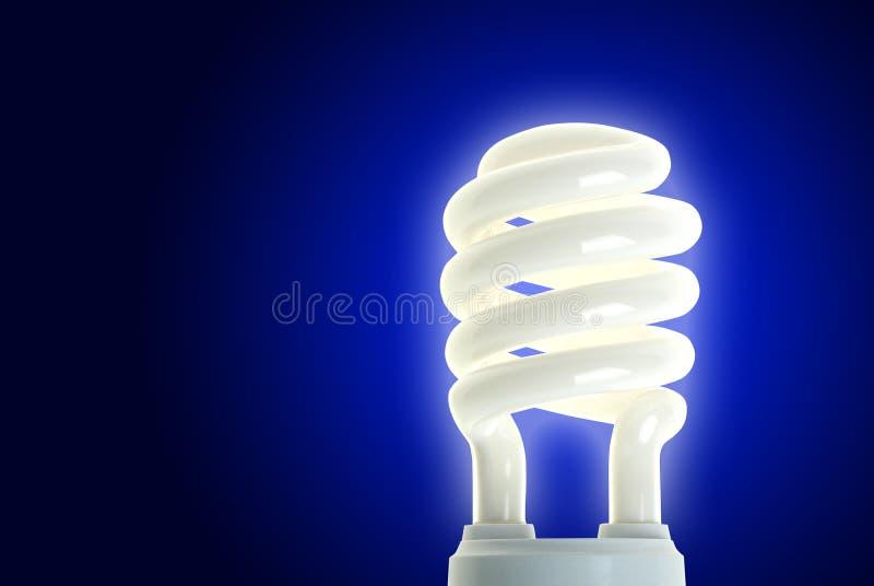 Energi - besparinglampa på blått royaltyfria bilder
