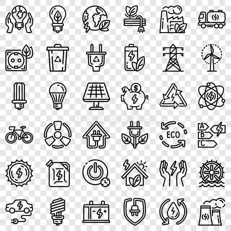 Energi - besparingsymbolsuppsättning, översiktsstil vektor illustrationer