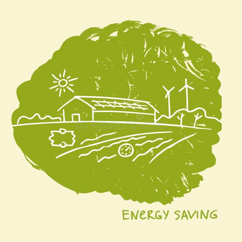 Energi-effektiv konstruktion för vektorillustration slappt trevligt sparande för energiillustration stock illustrationer