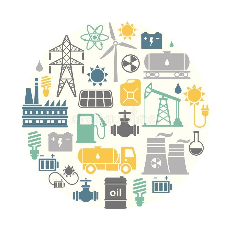 Energi elektricitet, bakgrund för rund form för maktvektor royaltyfri illustrationer