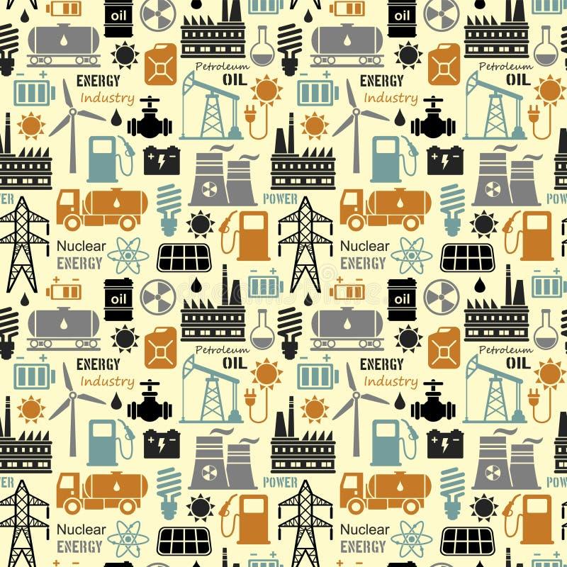 Energi elektricitet, driver sömlös vektorbakgrund royaltyfri illustrationer