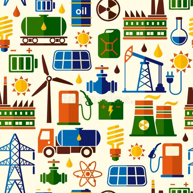 Energi elektricitet, driver sömlös vektorbakgrund stock illustrationer