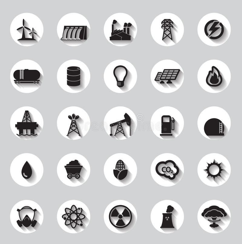 Energi, elektricitet, maktsymbolstecken och symboler royaltyfri illustrationer