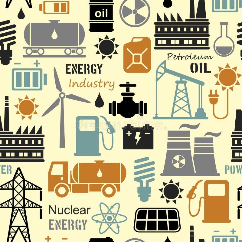 Energi elektricitet, sömlös bakgrund för maktvektor stock illustrationer