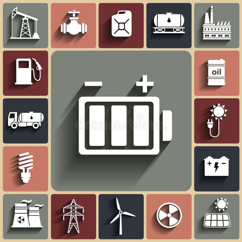 Energi elektricitet, uppsättning för symbol för maktvektorlägenhet med skuggor royaltyfri illustrationer