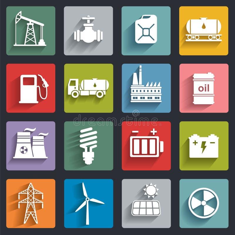 Energi elektricitet, uppsättning för symbol för maktvektorlägenhet med skuggor vektor illustrationer