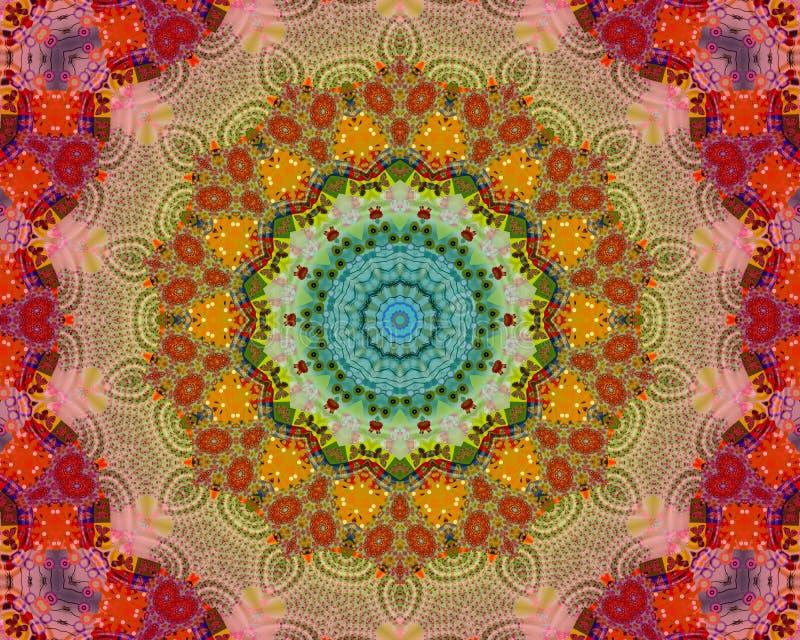 Energi färgar mandalaen stock illustrationer