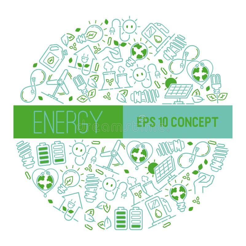 Energi för kulor för makt för jord för elektricitetsvektormodell elektrisk av den industriella elkraften för solpanelillustration royaltyfri illustrationer