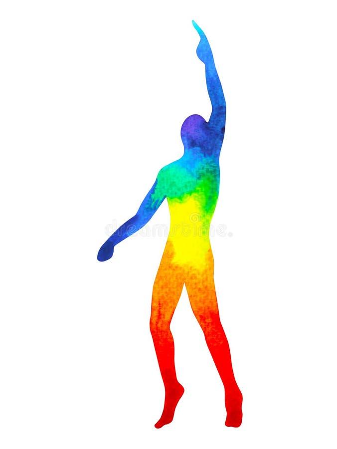 Energi för makt för den mänskliga lönelyfthanden poserar övre, den abstrakta regnbågekroppen arkivbild