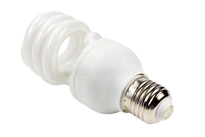 Energi - isolerad besparinglampa på vit bakgrund Sikt från sockelsidan royaltyfri fotografi