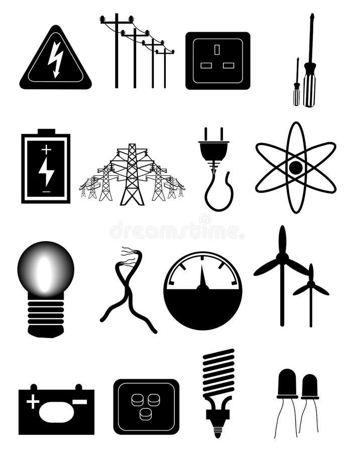 Energi och elektricitetssymbolsuppsättning vektor illustrationer