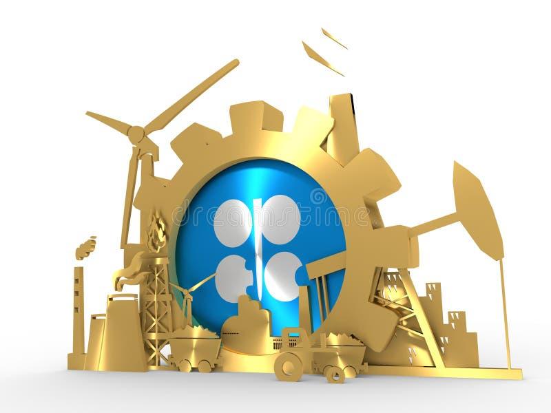 Energi- och maktsymboler ställde in med OPECflaggan stock illustrationer