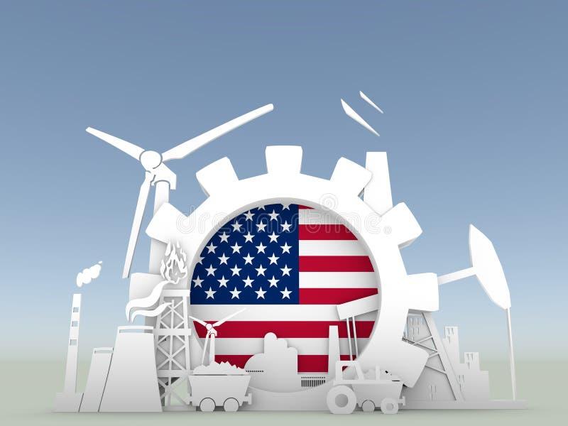 Energi- och maktsymboler ställde in med USA flaggan vektor illustrationer