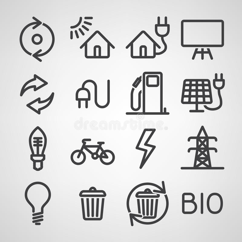 Energi- och resurssymbolsuppsättning royaltyfri illustrationer