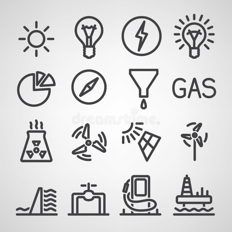 Energi- och resurssymbolsuppsättning vektor illustrationer