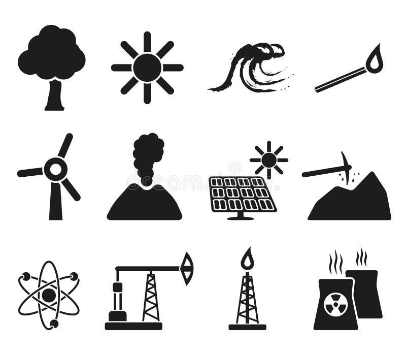 Energi- och resurssymbolsuppsättning stock illustrationer