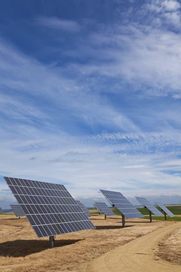 energi panels photovoltaic förnybart sol- arkivfoto