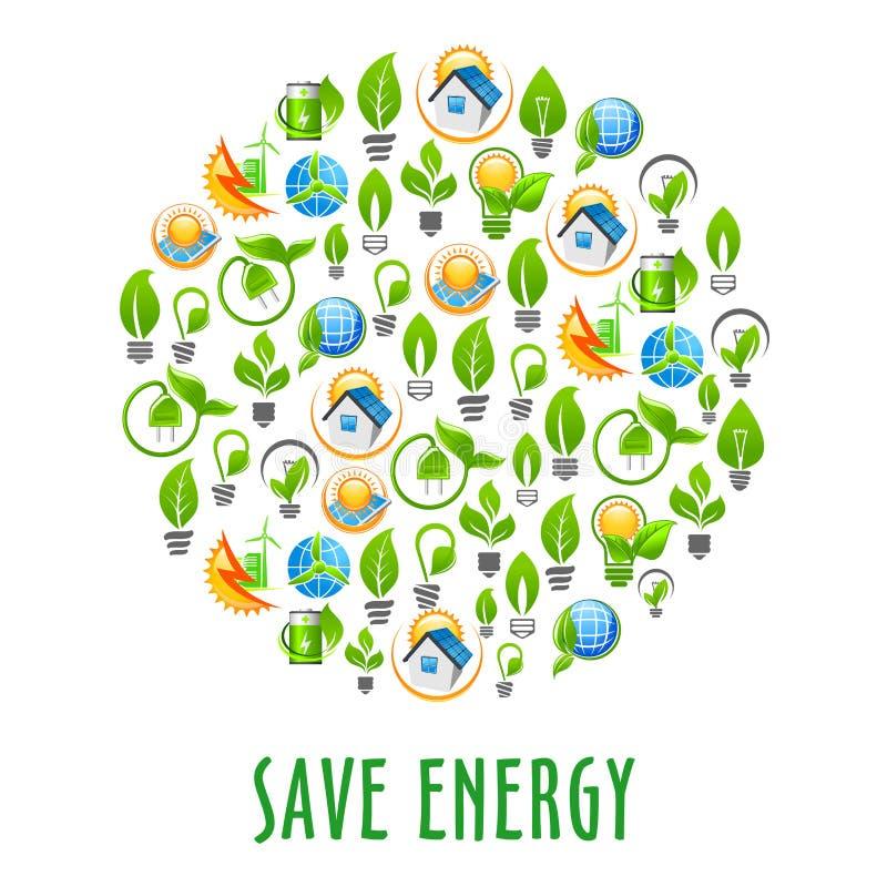 Energi - runt symbol för besparing med symboler för grön makt royaltyfri illustrationer