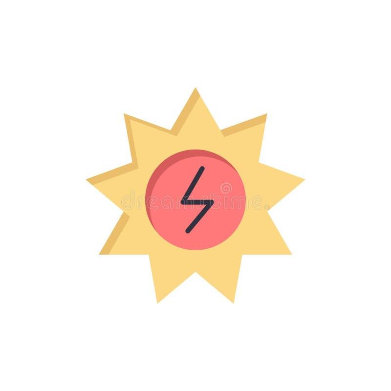 Energi som är sol-, energi, plan färgsymbol för makt Mall för vektorsymbolsbaner stock illustrationer