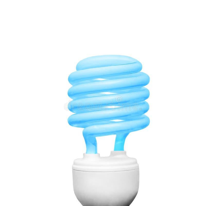 Energi - sparande ljus kula på vit färg för blått för bakgrundsfyrkantsammansättning arkivfoton