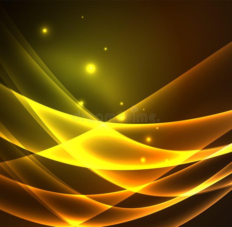 A energia alinha, incandescendo acena na obscuridade, fundo abstrato do vetor ilustração royalty free